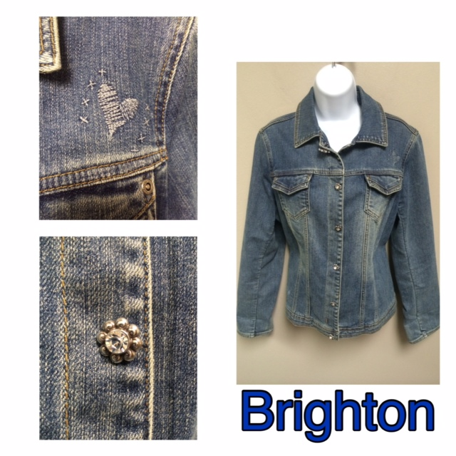 Brighton Denim Jacket (size medium). It features three adorable embroidered heart details at the pocket and hem, with crystal flower buttons down the front. $79.99 at Julie's.