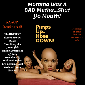 The Other Side Of Money Productions -  Momma Was A Bad Mutha...Shut Yo Mouth!   A tragically funny, real, and raw autobiographical story of a young girl's untimely coming of age amidst her momma's wild and raucous weekend house parties.   When?    Wednesday, 10/16 - 6:30 PM  Friday, 10/18 - 8:15 PM  Saturday, 10/19 - 4:45 PM  Sunday, 10/20 - 3:00 PM    Where?   Downtown Cultural Arts Center Banquet Hall 401 N Howard St