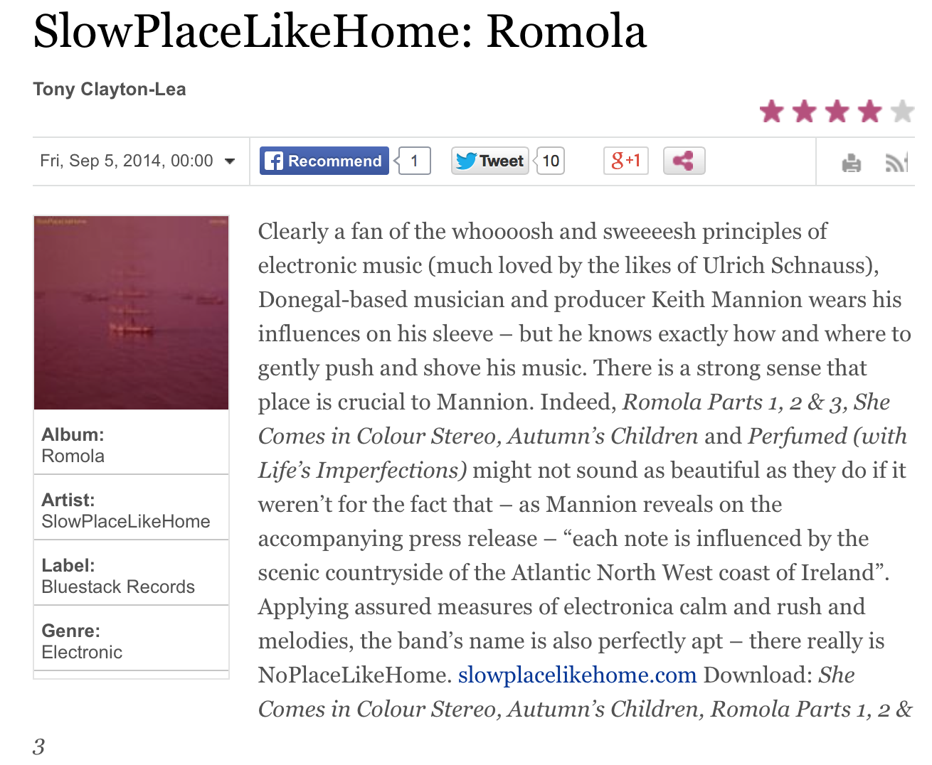 SLOWPLACELIKEHOME - ROMOLA (FEATURED IN THE IRISH TIMES 05.09.14)