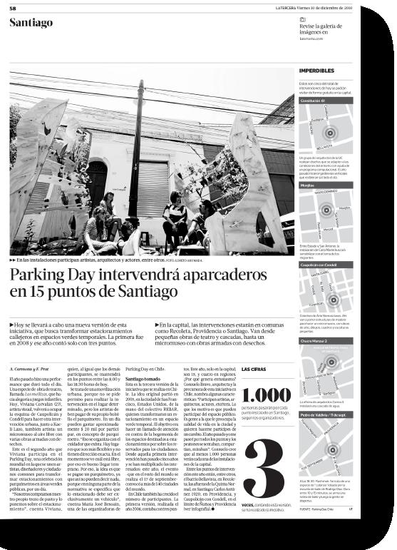 Parking Day intervendrá aparcaderos en 15 puntos de Santiago    Proyecto publicado:    La Tercera, 2010