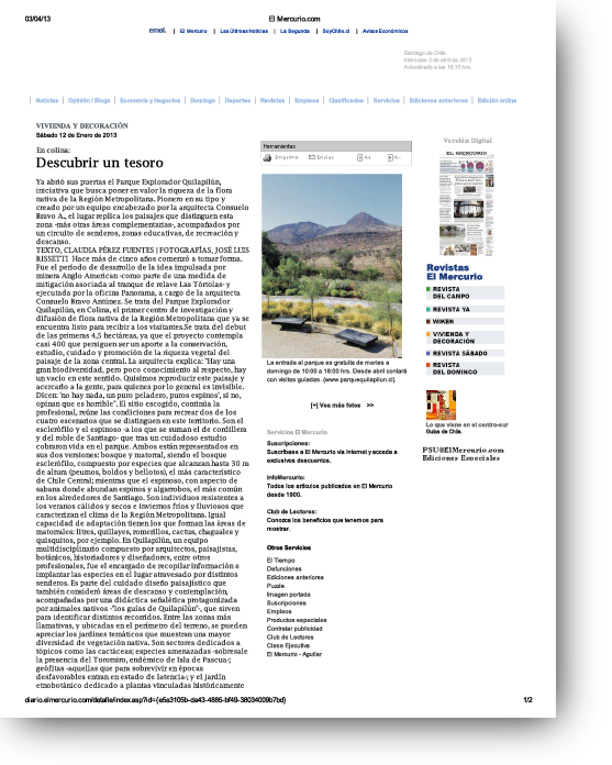 Descubrir un tesoro    Proyecto publicado:    El Mercurio, 2013