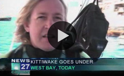 Kittiwake is Cayman's newest dive site  The U.S.S. Kittiwake is finally underwater. The former US navy submarine rescue ship is now an artificial reef sitting on the ocean floor 60 feet below the surface. The Kittiwake is at the northern end of Seven Mile Beach.