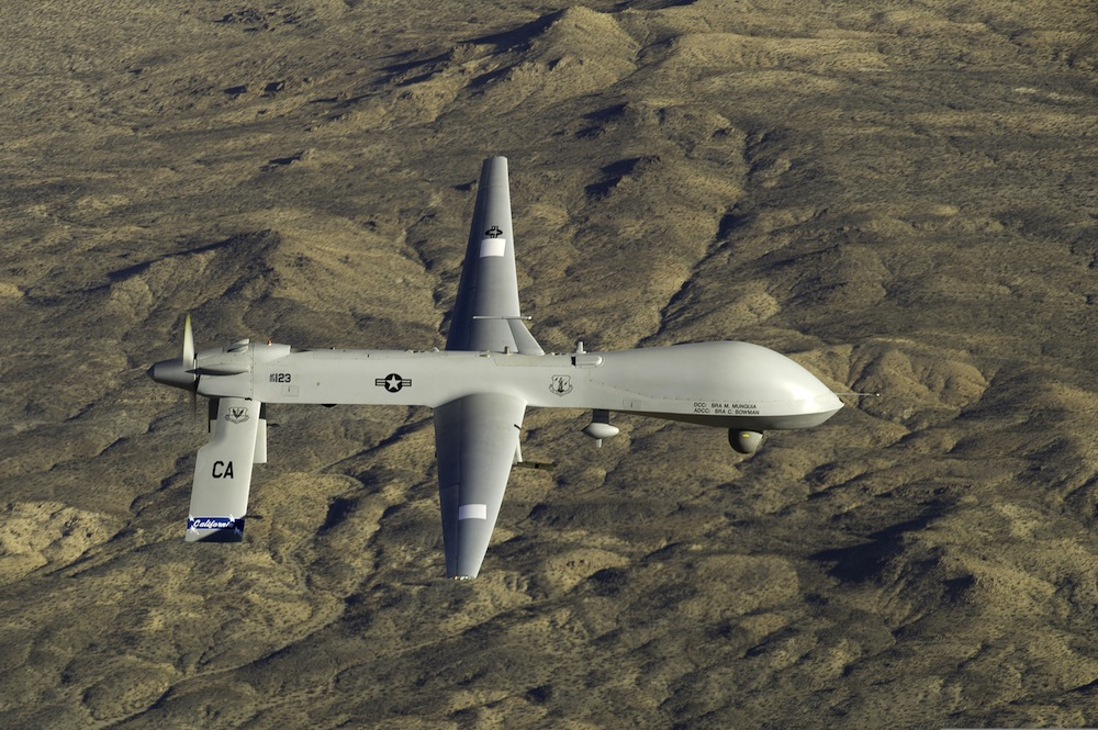 A U.S. Air Force MQ-1 Predator flies near the Southern California Logistics Airport in Victorville, Calififornia, on Jan. 7, 2012. (Credit: U.S. Air Force   photo   by Tech. Sgt. Effrain Lopez/Released)