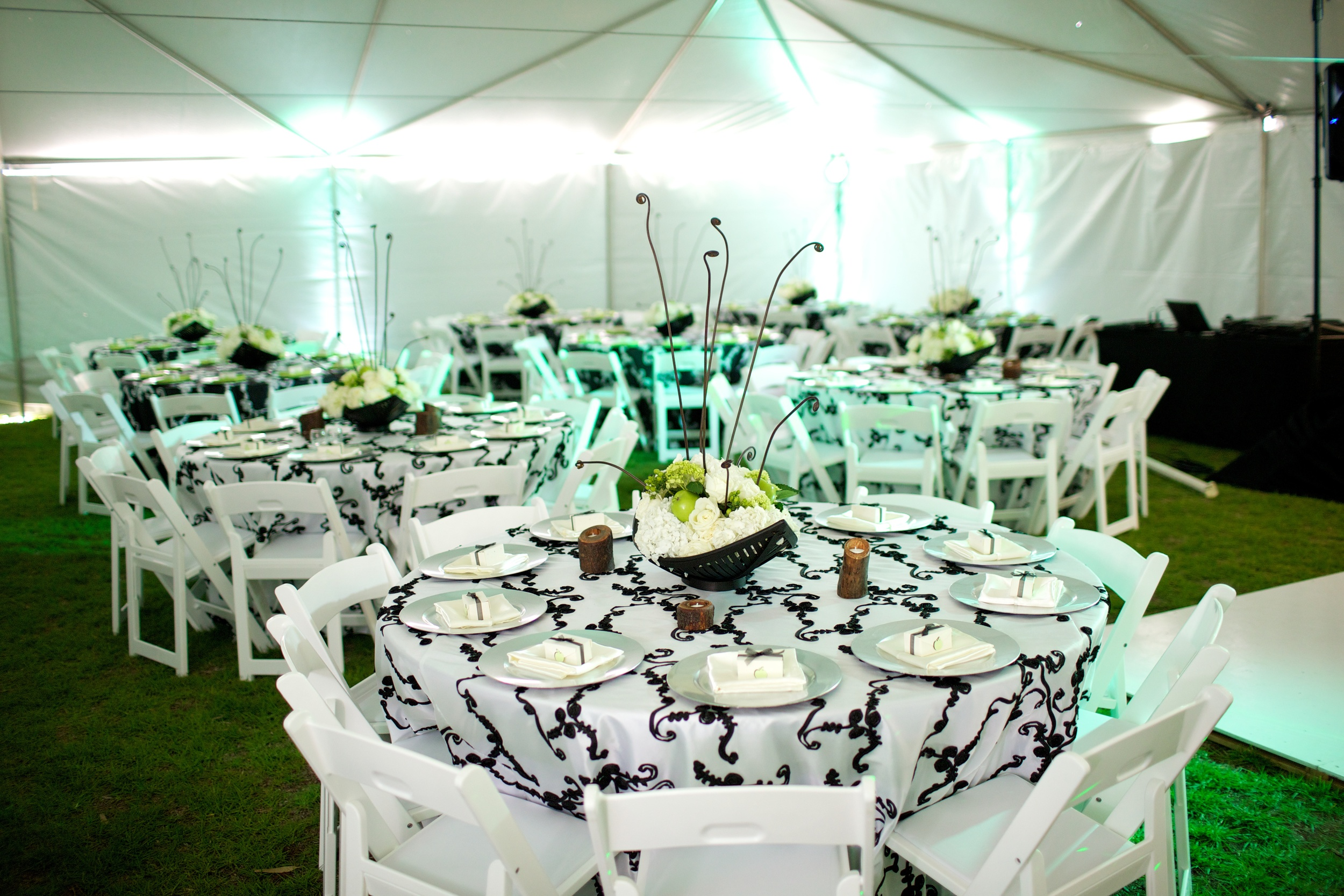"Our 132"" White/black scroll specialty linen is a elegant designed linen that will surely make that lasting impression. comes in 5 different color variations."