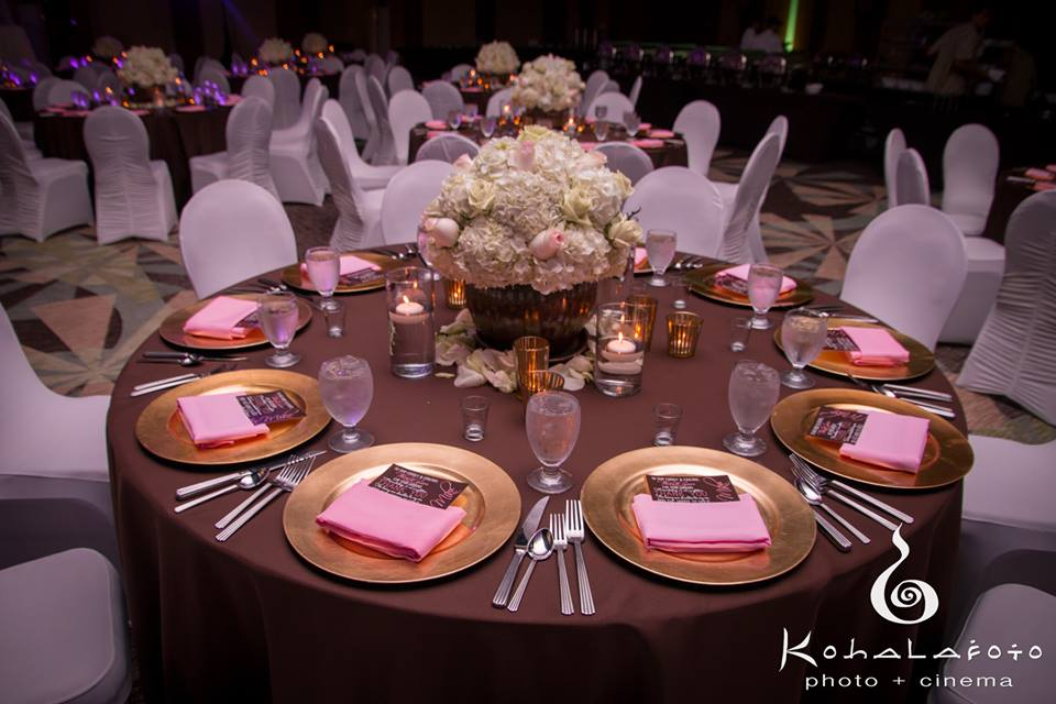 "132"" brown cotton linen with gold chargers and light pink napkins"