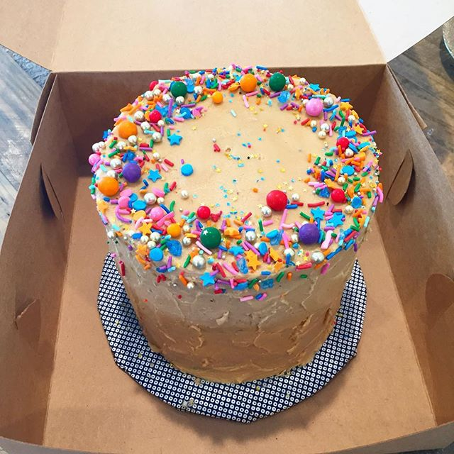 Birthday cake heading out for delivery! Mocha cake with espresso frosting #birthdaycake #mochacake #sprinkles #chocolateandcoffee