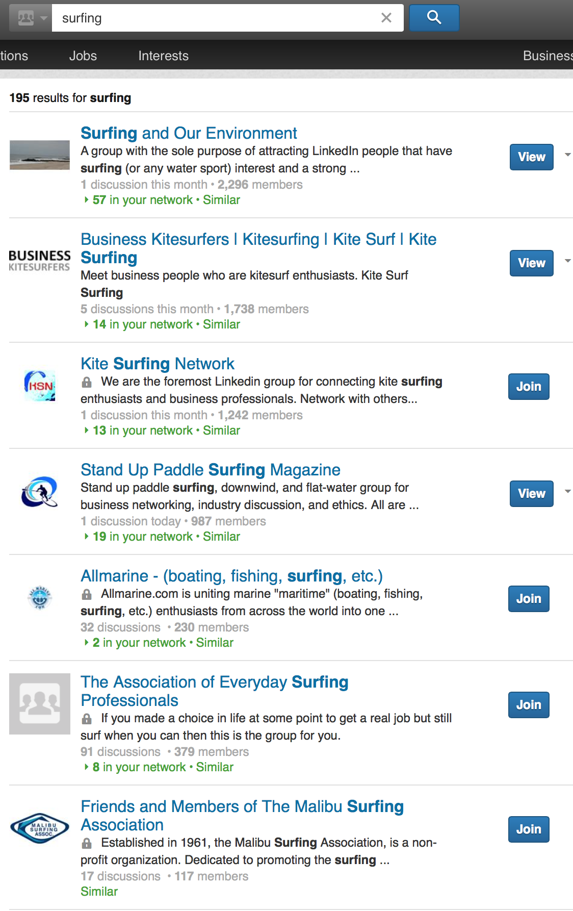 linkedin surfing groups