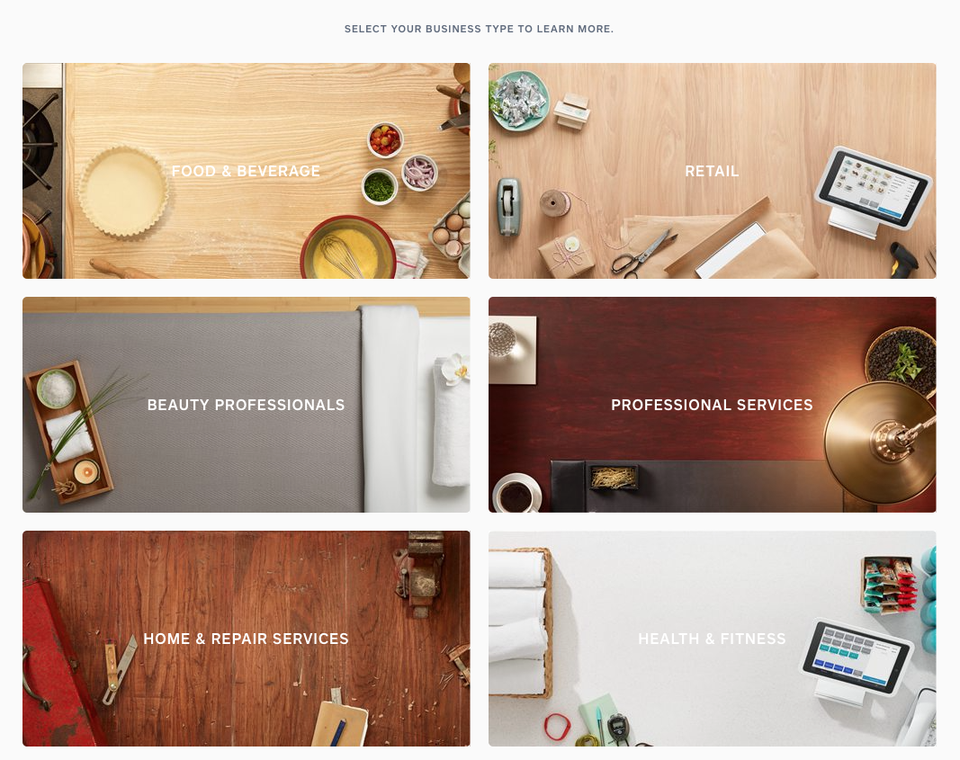 Perfect example of in-depth content for certain personas from a very large business. Right from Square's homepage.