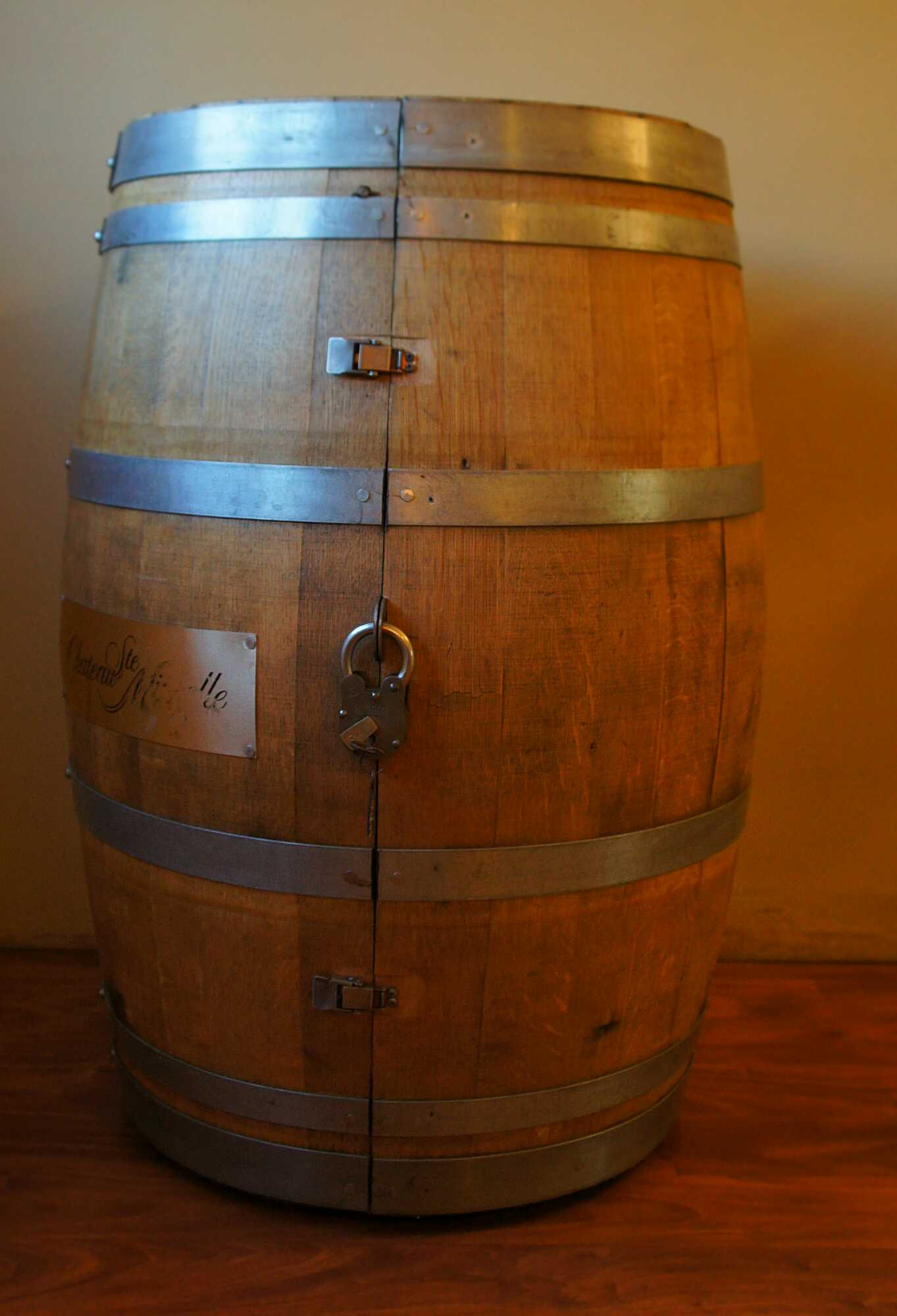 whiskey liquor wine barrel cabinet
