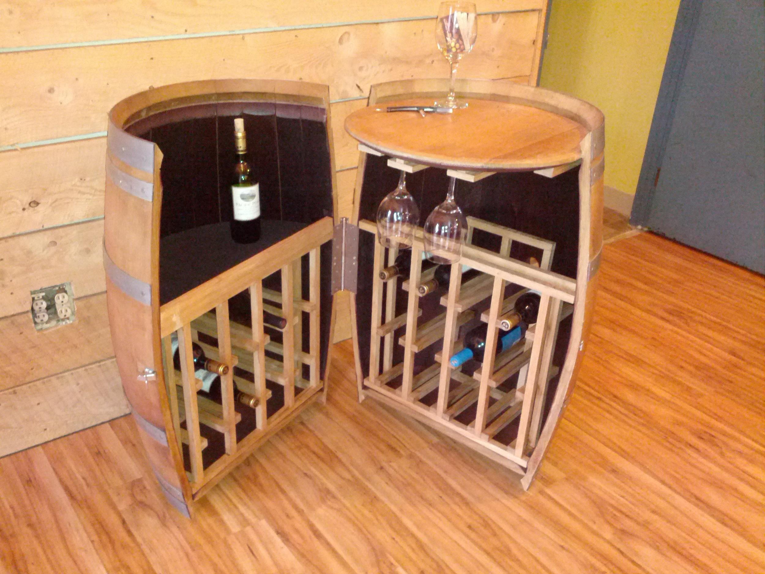 whiskey liquor wine barrel cabinet cabinets bar bars portable