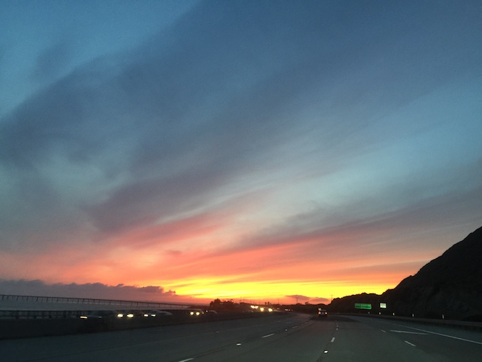 Sunset on the way home from Pasadena, Saturday, March 4th.