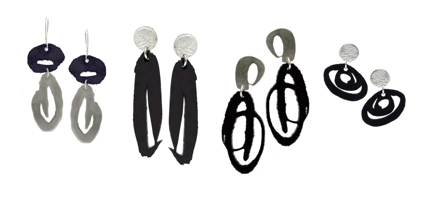 Silicone Rubber and Sterling Silver Earrings