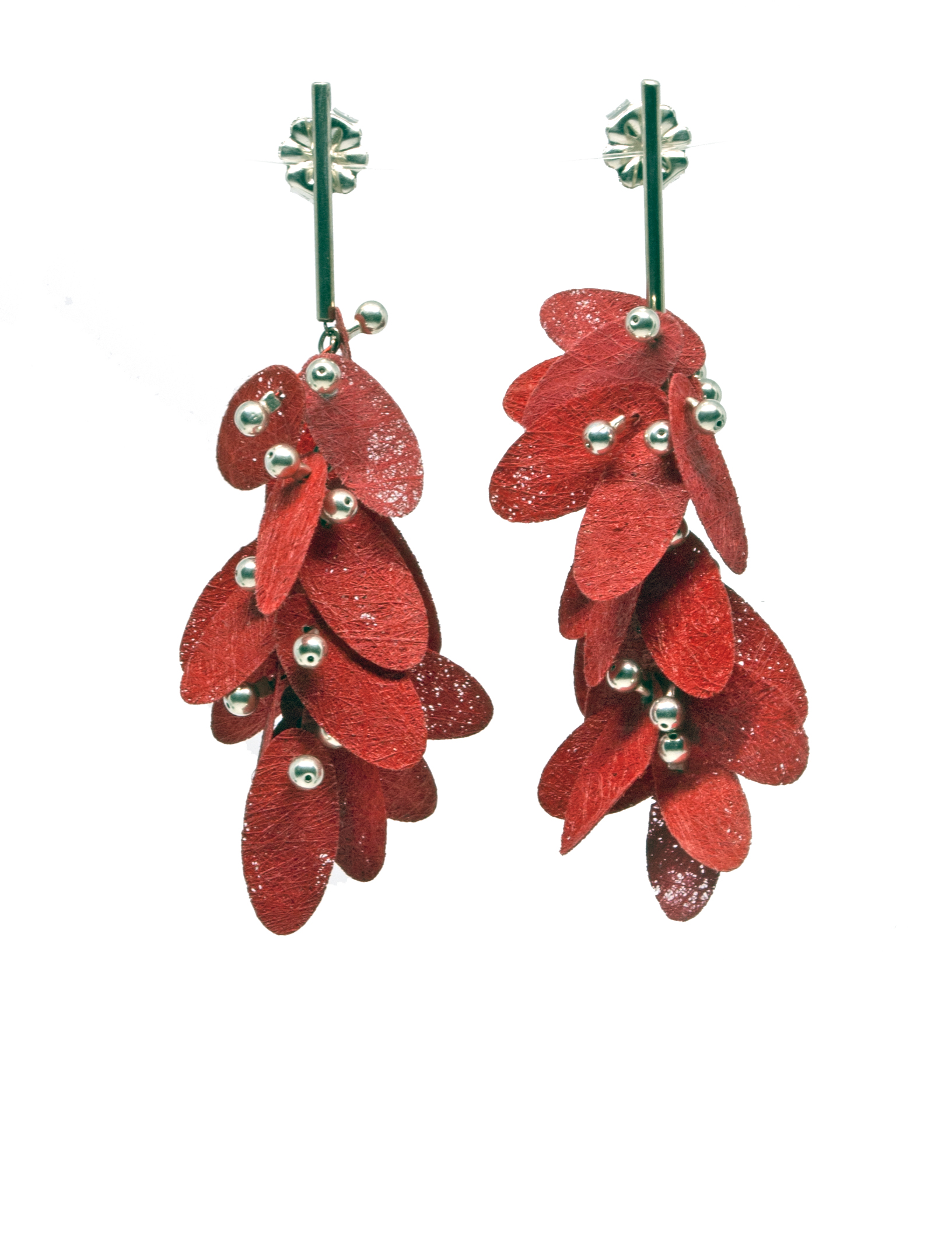 Painted Poly Earrings, red