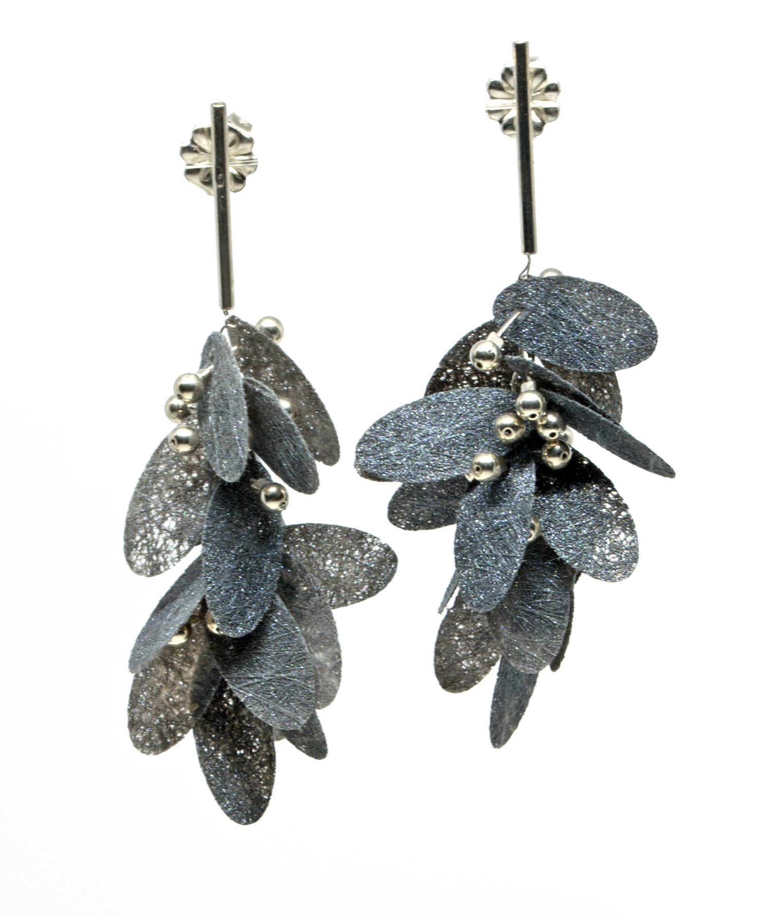 Painted Poly Earrings, grey