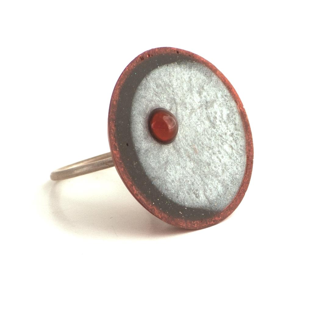 Cast Epoxy Resin Half Moon Ring