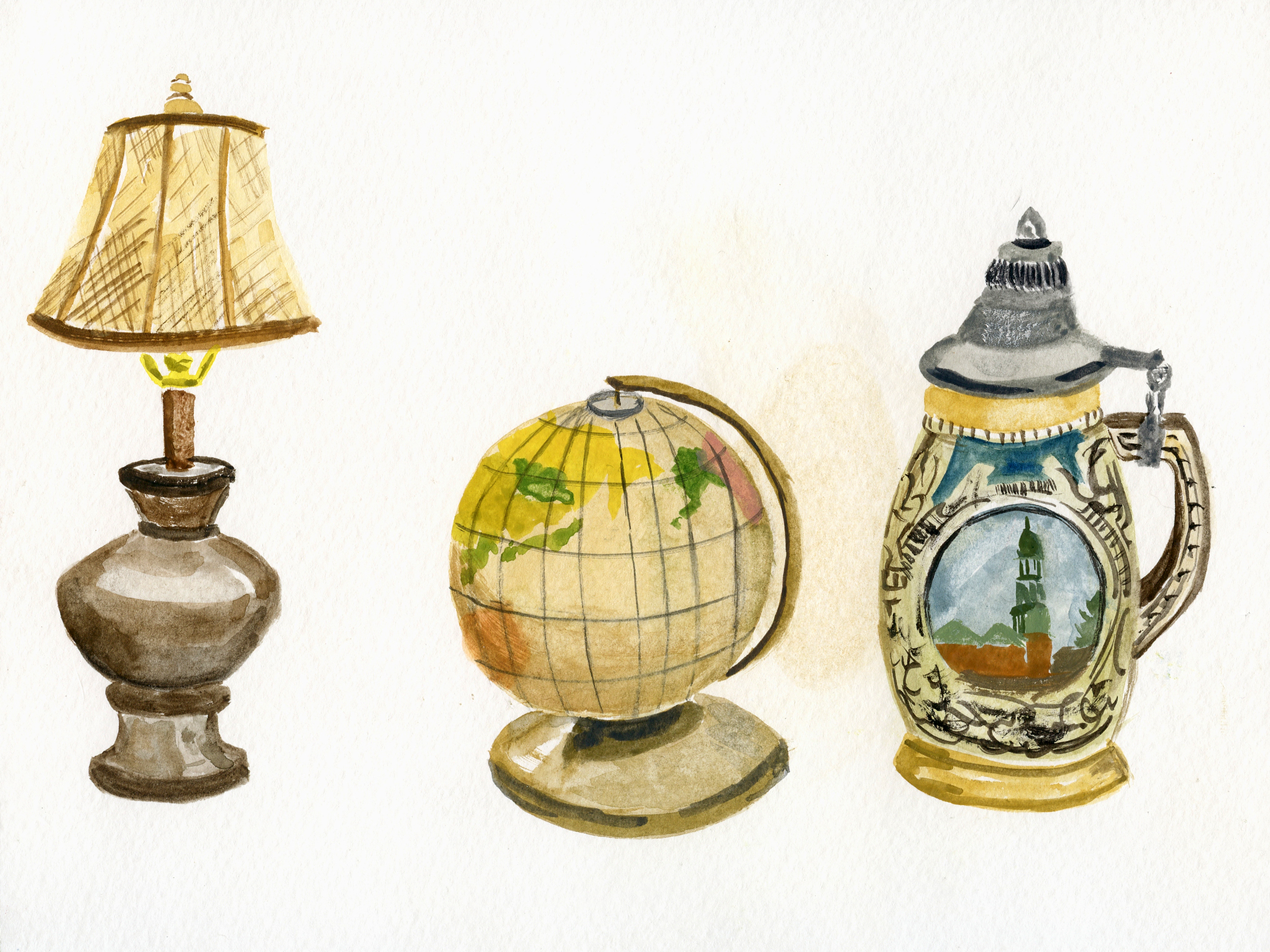I also painted some golden objects around the house including a lamp, a  globe and a beer stein. This one definitely spawned a new project that I  will be announcing in a few weeks!