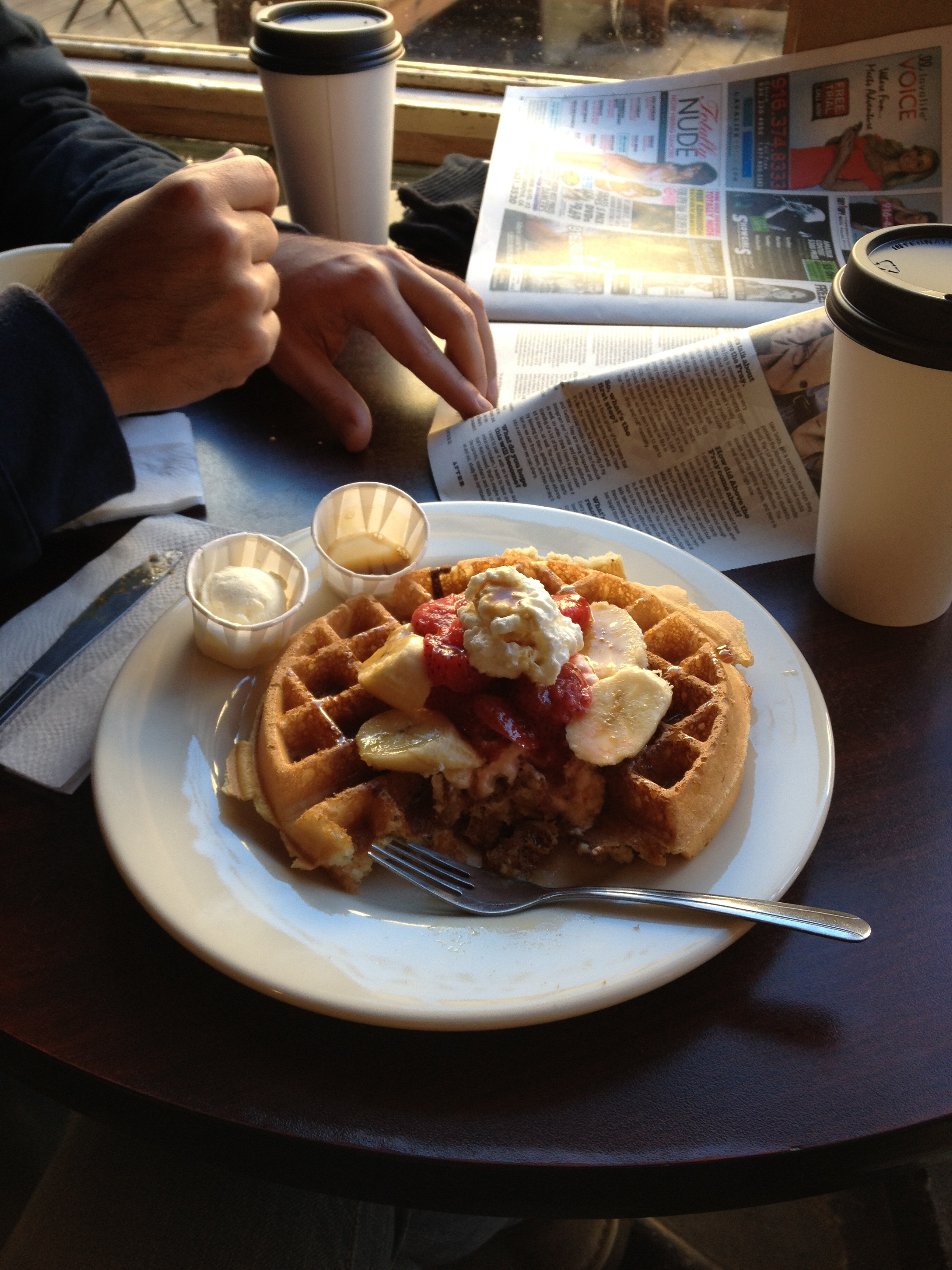 I was almost late to the craft fair because I had to have a waffle piled with strawberries, bananas and agave syrup from  Cafe Mekka . On the second morning, we went to the  South Pine Cafe , which I highly recommend.