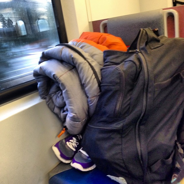 Caltrain to camping. Why yes, there is a camp stove in that backpack.