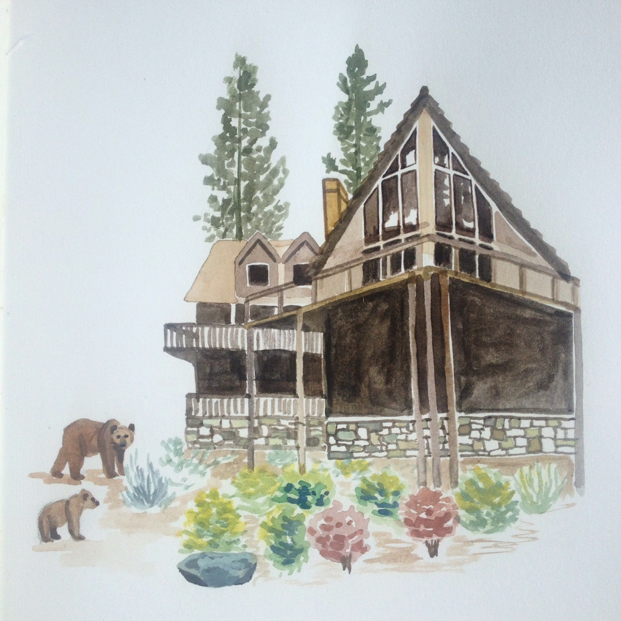 Gouache painting of bears at the cabin.