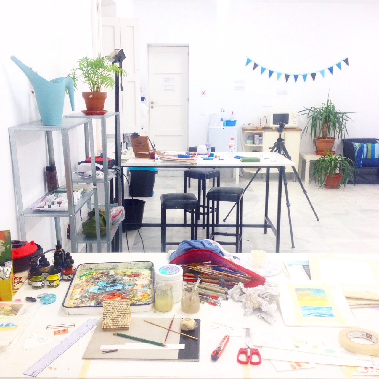 My workspace in the art studio.