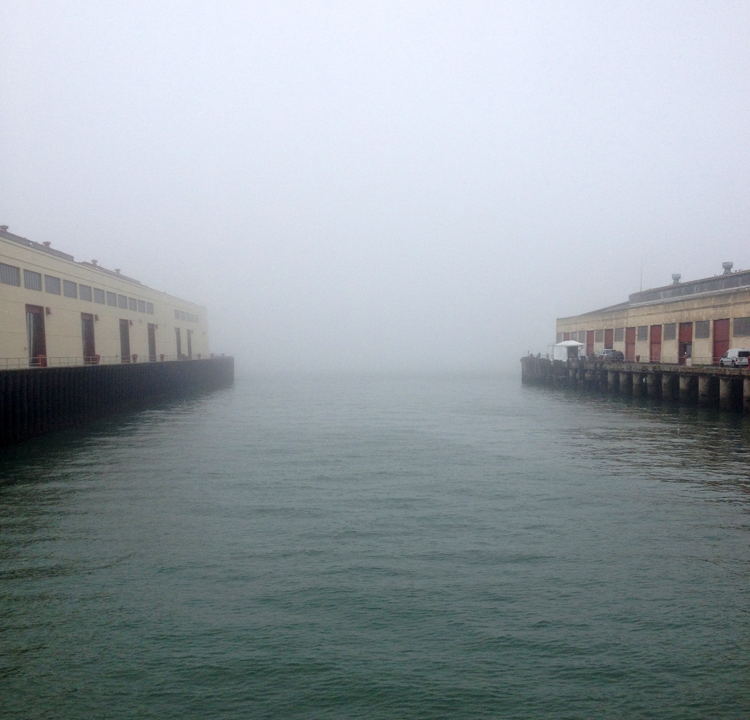 Foggy Fort Mason, the venue for FOG Design + Art