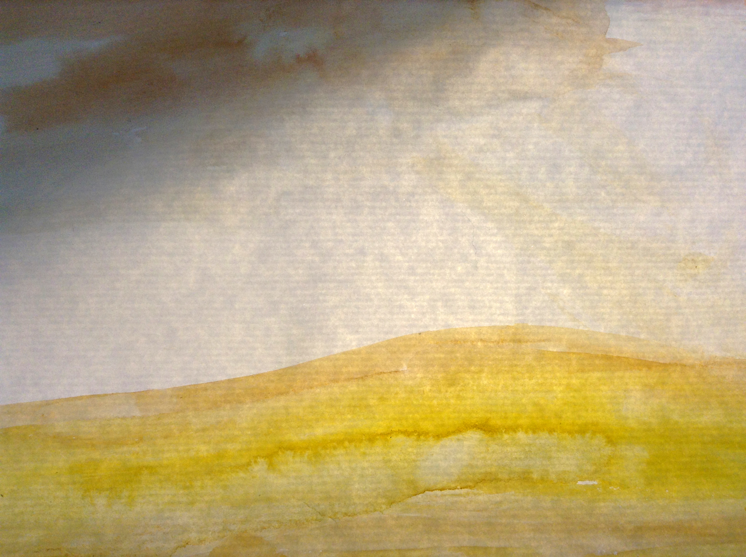 A sort of watercolor landscape lit from behind.
