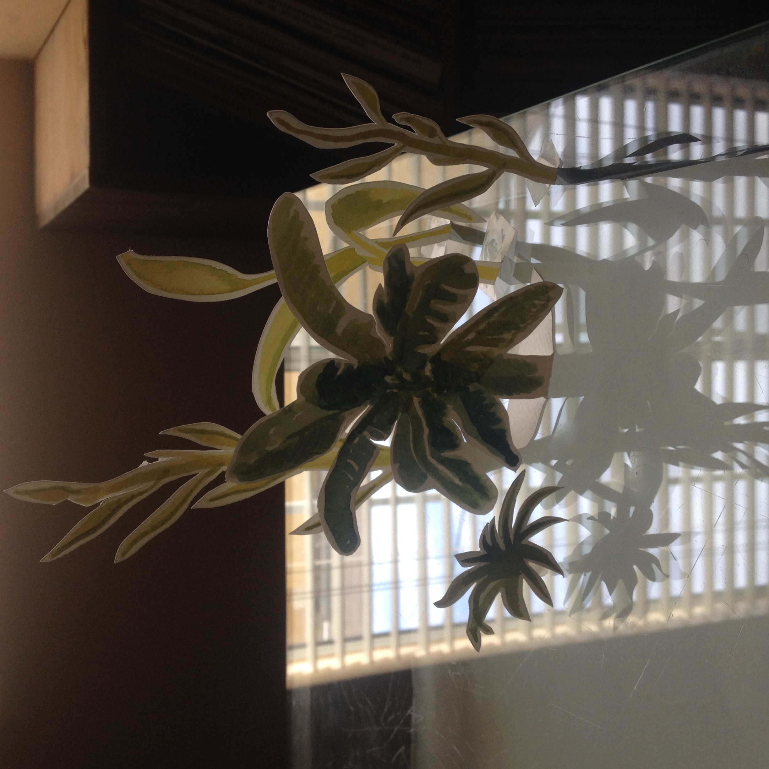 Cut paper plants with window reflection.