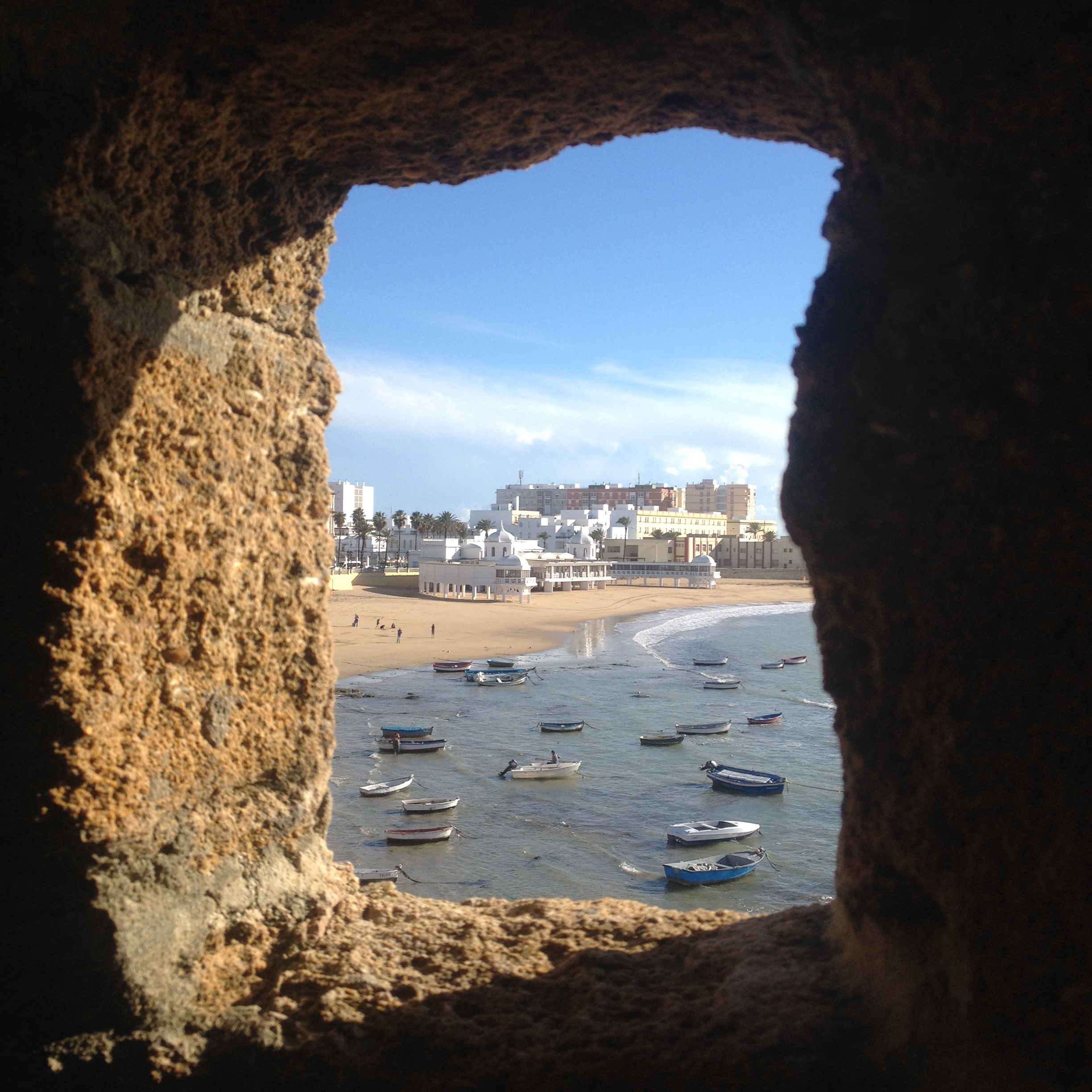 View through a castle window from Castillo Santa Catalina