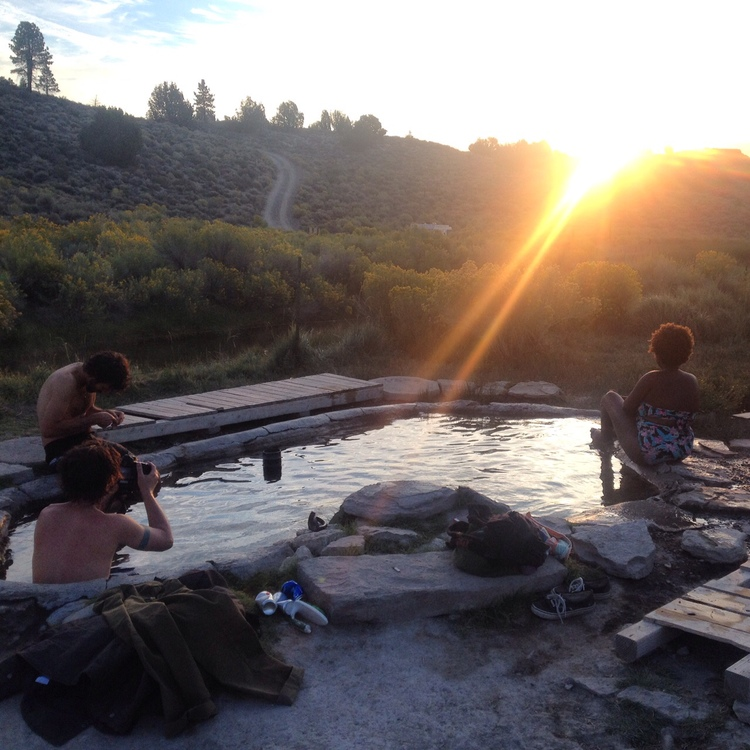 Sunrise visit to a hot spring near Mammoth Lakes