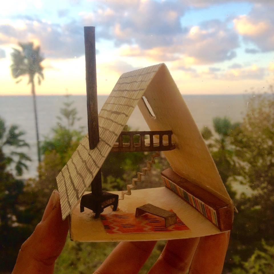 A paper A-frame house with my studio window view in Cádiz, Spain