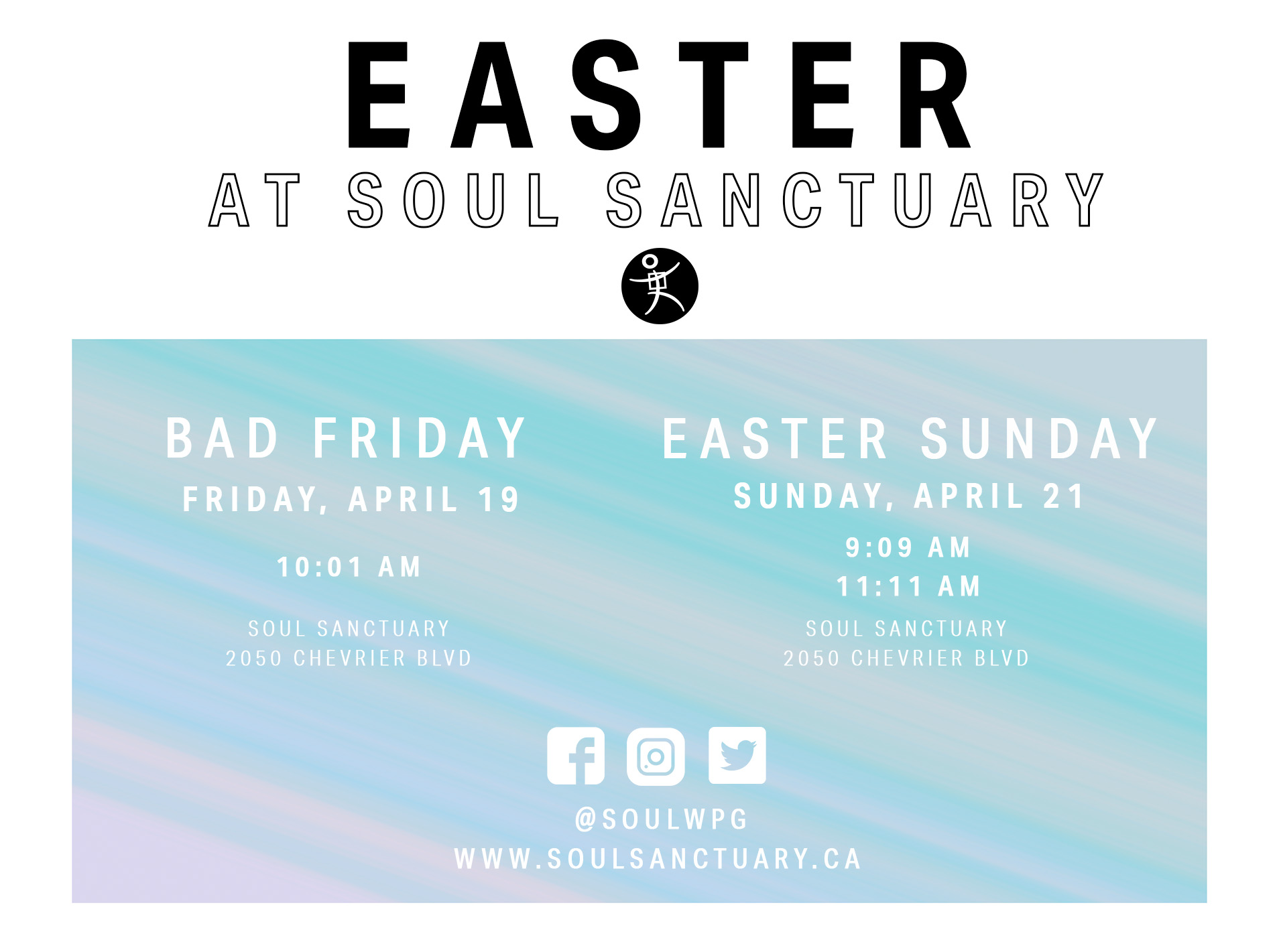Join us for an Easter Celebration Gathering!  Programming will be available for Soul Kids Jr (Infant-Kindergarten) & Soul Kids (Grade 1-5) during the life lesson.