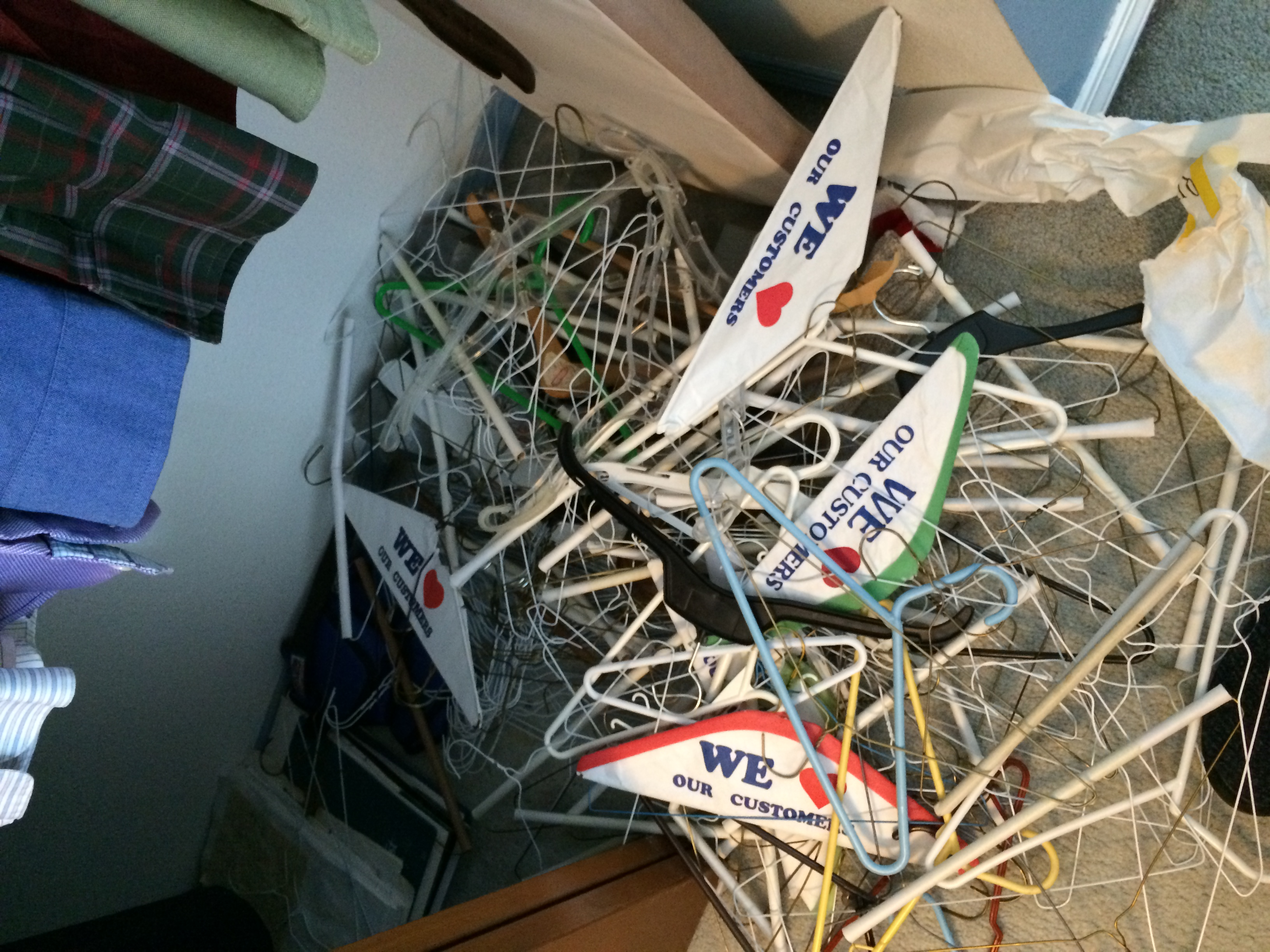 My dry cleaner was keen to get these old hangers back! No worries about hangers in the landfills here!
