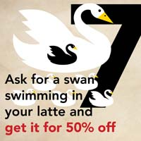 DEC. 18 -  7 SWANS A SWIMMING  Ask for a cocoa or cinnamon swan swimming in your latte and get your drink 50% off at  Vienna Coffee House .