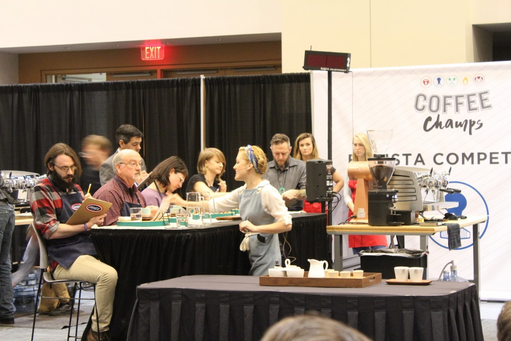 Even a Guest Judge gets the Barista's full attention... and tastes it all!