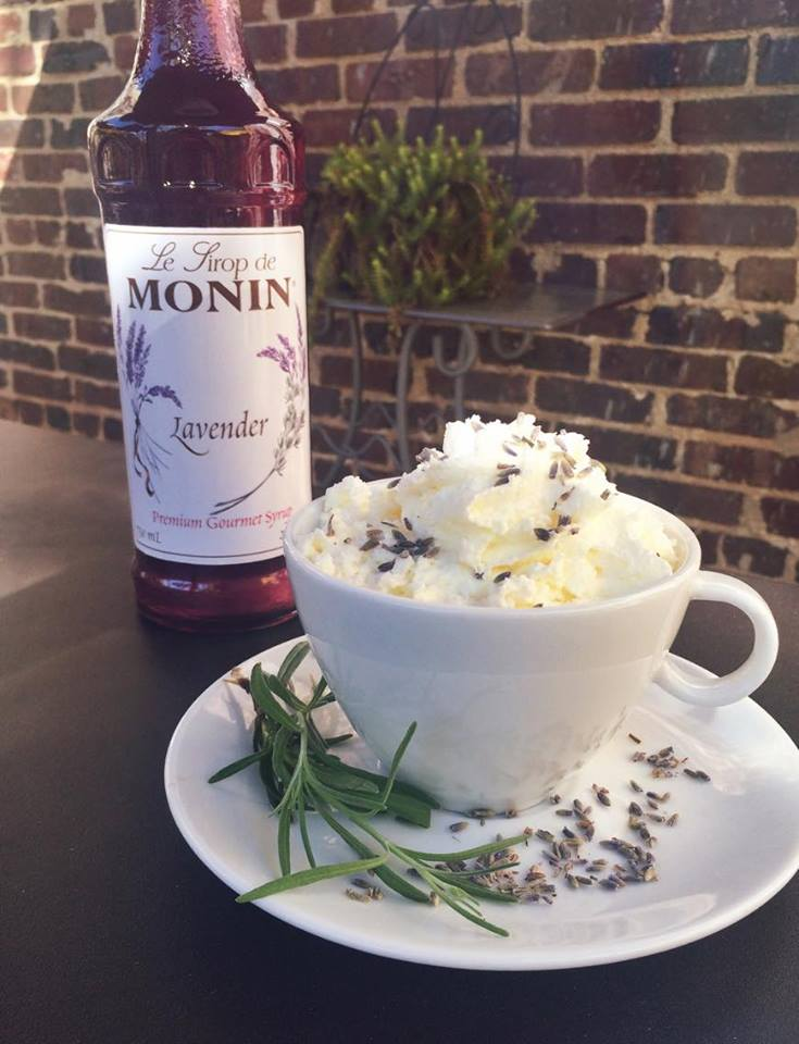 White Mocha Lavender Latte   Have you ever heard of anything more decadent? Lavender and white mocha are mixed together to create a wonderfully rich latte. Topped with a lavender infused whipped cream. Try it hot or cold!