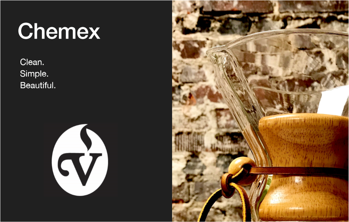 Chemex Brew Guide - The Chemex is ideal when brewing for two or more.  It produces an incredibly clean, wine-like cup and works best with coffees that have floral and fruit tones.