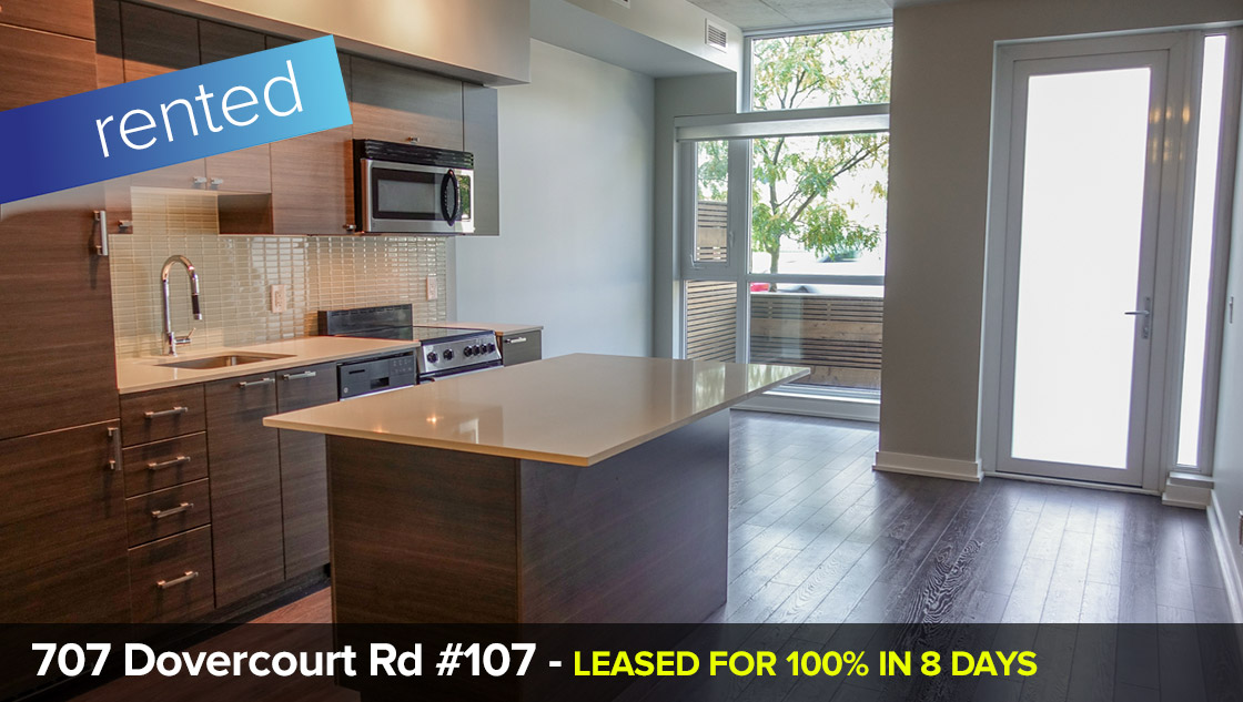 707 Dovercourt Rd #107 - Palmerston-Little Italy - 1 + 1 Bedroom Condo  LEASED: 100% IN 8 DAYS