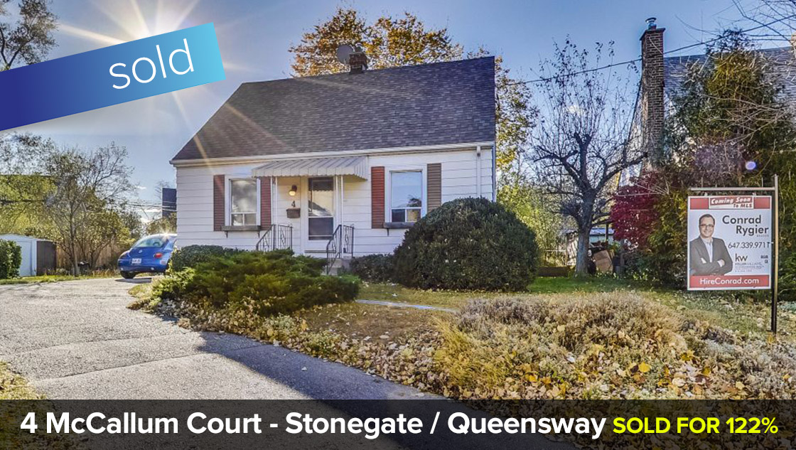 4 McCallum Court - Stonegate / Queensway - Detached 1 + 1/2 Storey 4 Bedroom Home  SOLD for 122% of Listing Price in 8 Days!