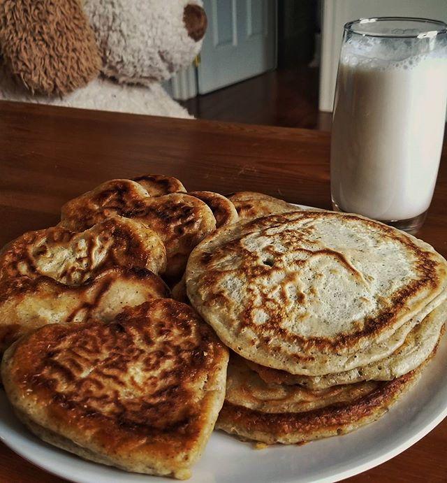 Heart pancakes for breakfast