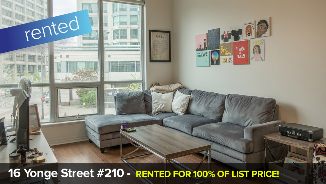 16 Yonge Street #210 - Yonge / Lakeshore - 1 Bedroom  LEASED FOR 100% OF LIST PRICE!