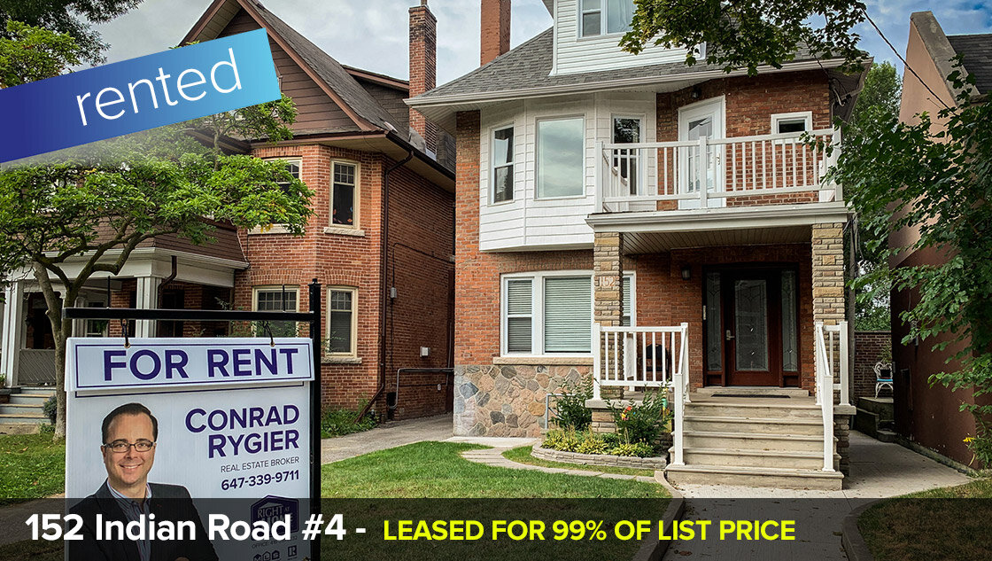152 Indian Road #4 - High Park / Roncesvalles  - 2 Bedroom w/Parking + Locker  RENTED FOR 99% OF LIST PRICE!