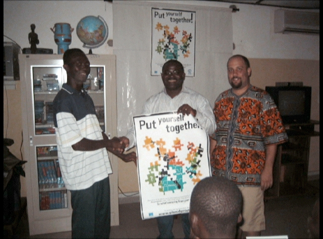 Steven with his Togolese counterpart at PLAN Togo