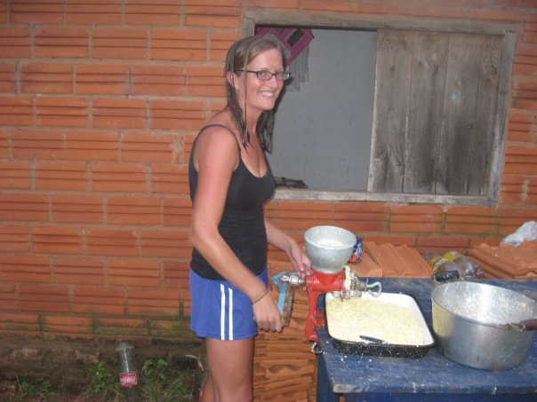 Kate making some food in the campo
