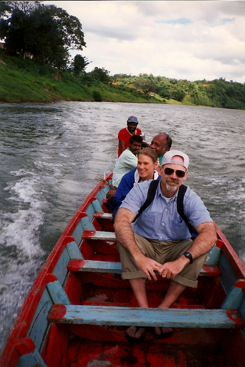 Riding a boat in Peace Corps Fiji, 1995.