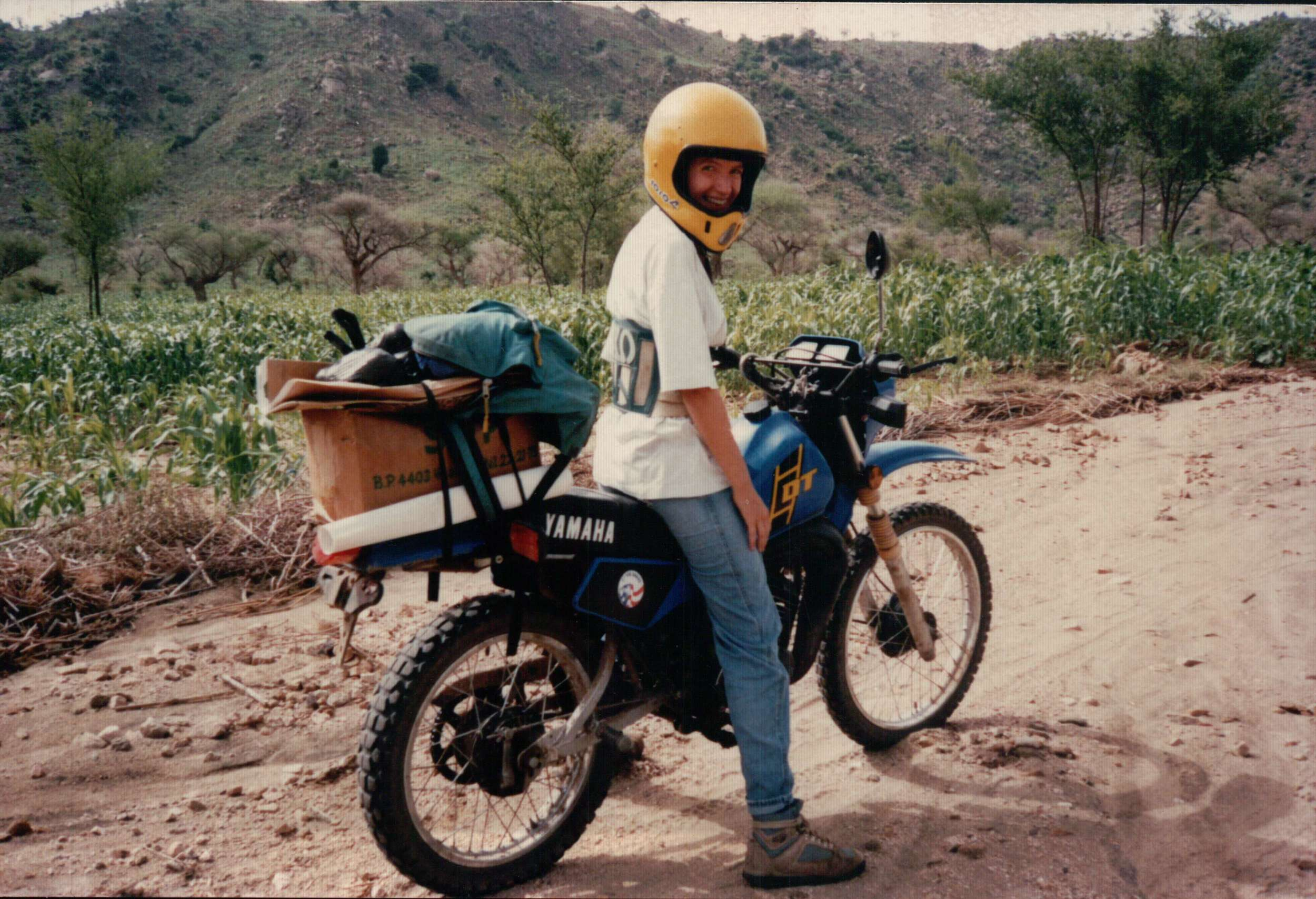 Susan riding a motorbike