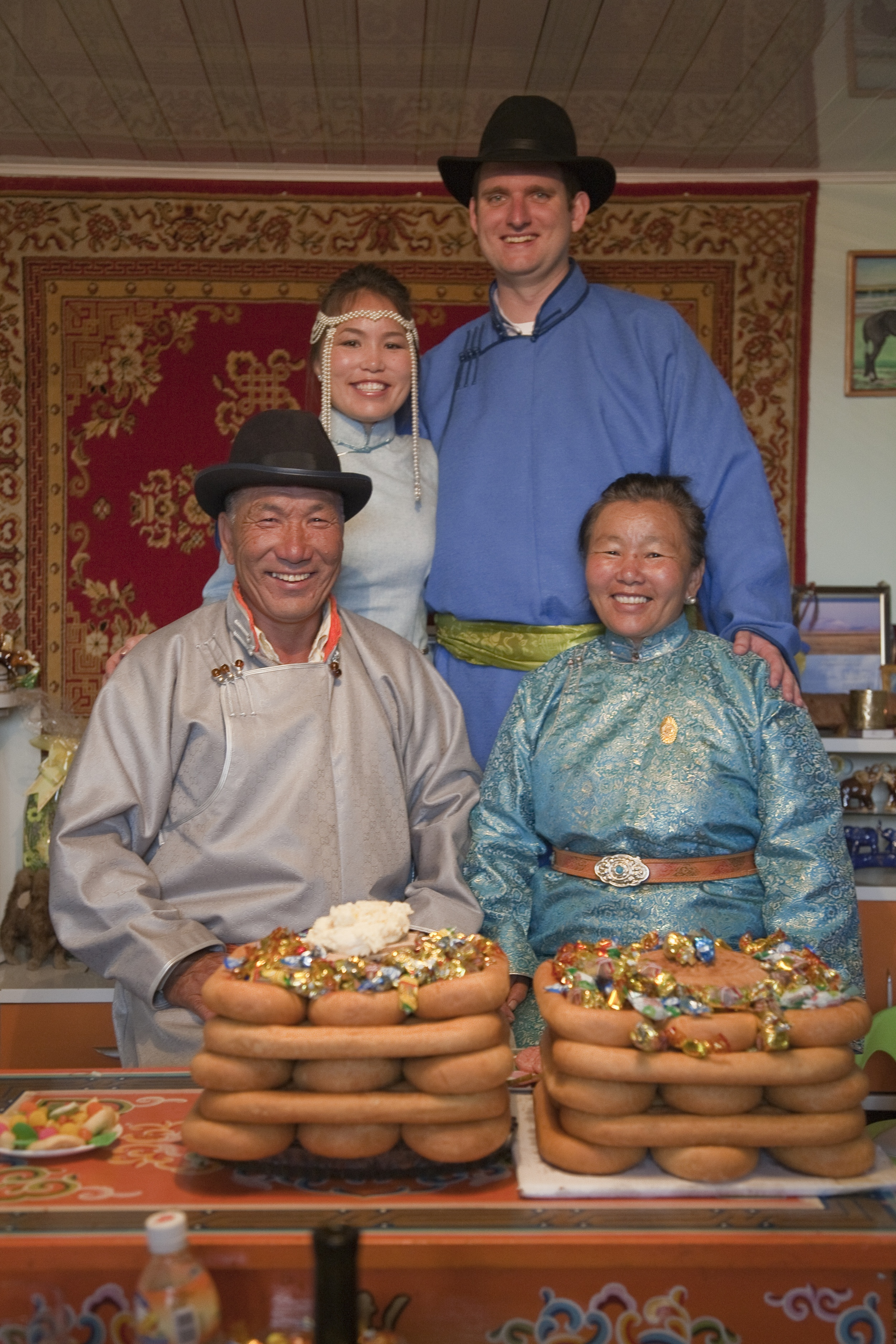 Travis and his Mongolian family before his wedding day (photo credit: Kate Brokowski).