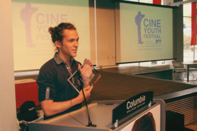 """Accepting """"Chicago Award"""" at 2011 CineYouth Film Festival."""