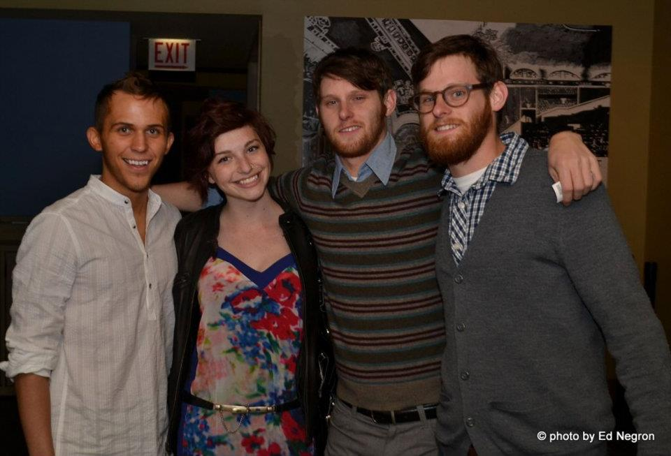 "Picking up our ""Audience Award"" at The 2012 Indie Boots Film Festival  with actress Chloe Howcroft and Twin Sound, Erik and Joseph Duemig."