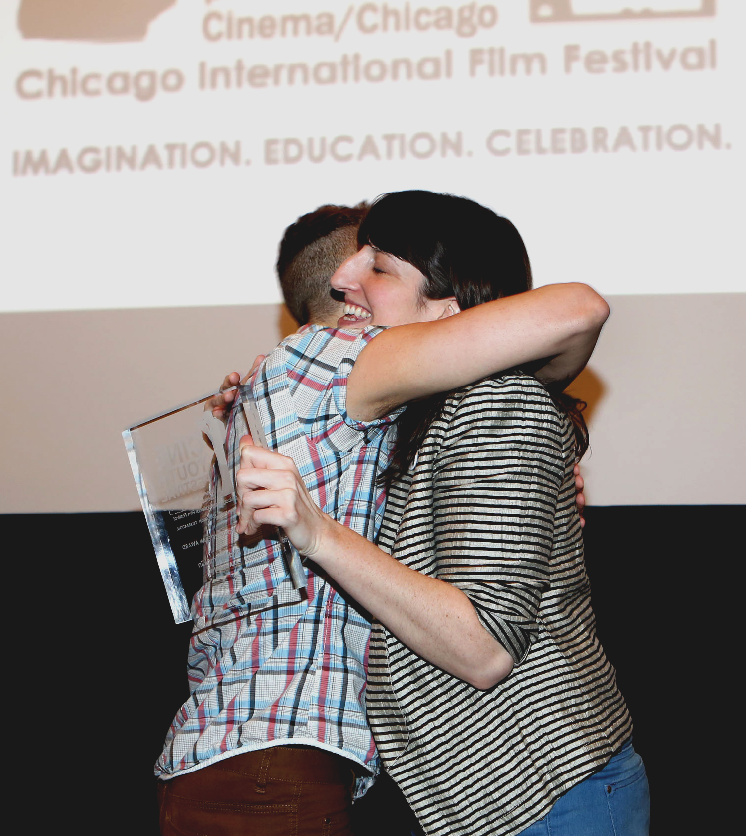 "Accepting CineYouth's first-ever ""Veteran Award"" from fabulous festival founder, Rebecca Fons."