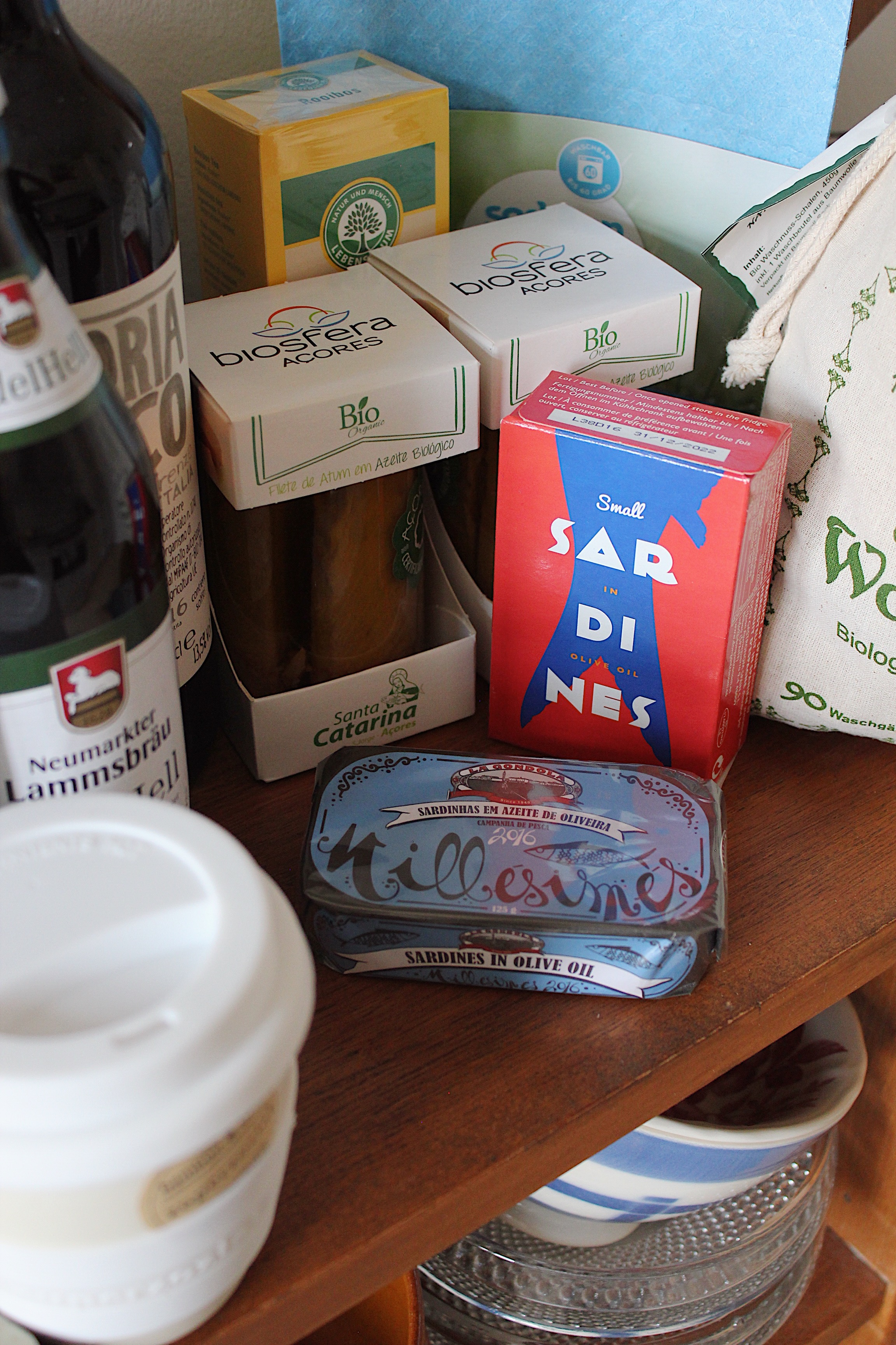 The best tuna from  Santa Catarina . Several tins with Portuguese sardines. All bought at  L'Épicerie at Wörther Straße .